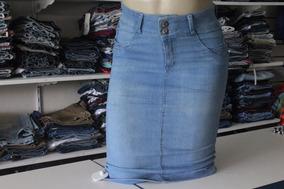 Saia Jeans Secretária Midi Moda Evangélica Do 40 Ao 54