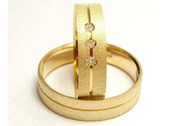 Par Alianças Ouro 18k 750 Reta Canal 3 Diamantes 5 Gramas