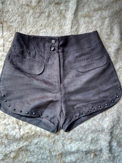 Shorts Cintura Alta De Suede