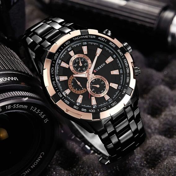 Relógio Curren, Masculino Preto Luxo, Pulseira De Aco