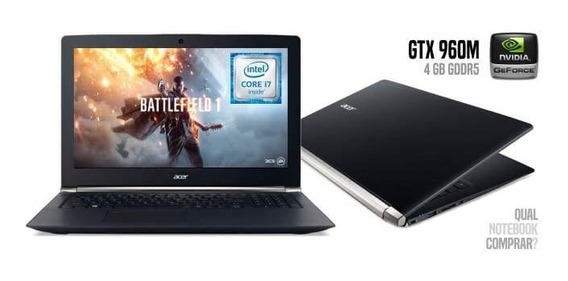 Notebook Acer Vn7-592g-734z - Intel Core I7-6700hq - Ram 16gb - Geforce Gtx 960m - Hdd 1tb - Ssd 128gb - Lcd 15.6 - Win