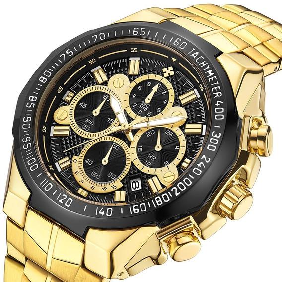 Relógio Masculino Wwoor Dourado 100% Funcional + Brindes