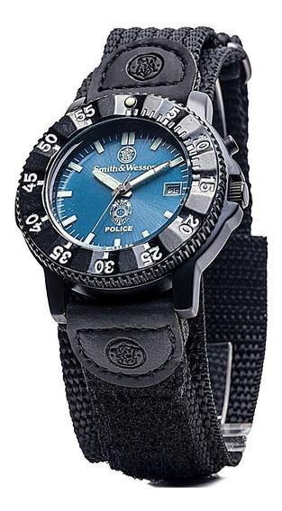 Smith & Wesson 455 Police Watch -blue Dial Blck Nylon Strap