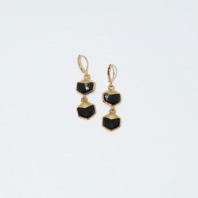 Pendientes Black Radiance Con Acabado Baño Oro