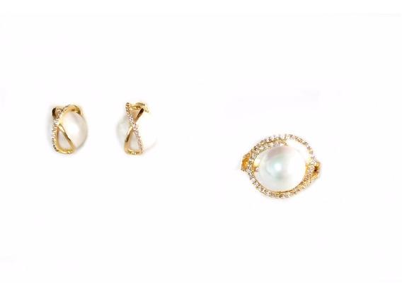 Semi Jóias Anel N°18 Brinco Dourado Com Pedras E Pérola