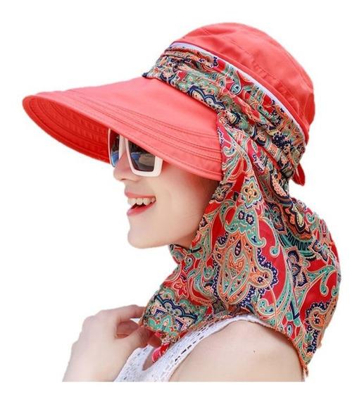 Sombrero Visera Dama Protección Solar Rostro Y Cuello Upf