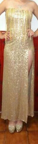 Vestido Gala Mujer Largo Recepción Fiesta Brillo