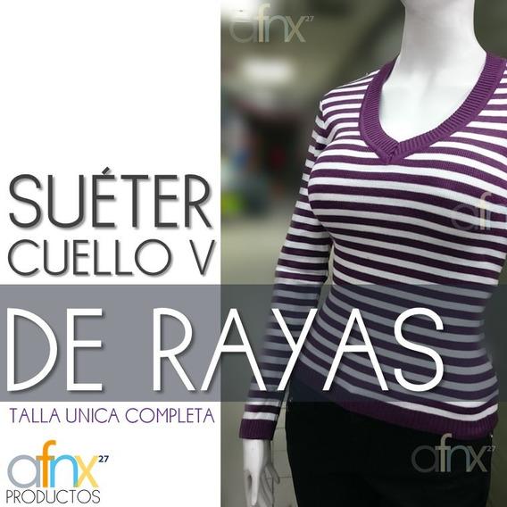 Suéter Cuello V De Rayas Morado Talla Unica Hecho En Perú