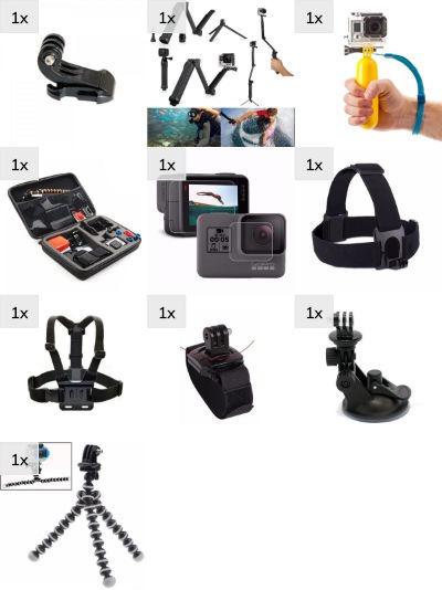 Kit Acessórios E Suportes P/ Gopro Hero 4 5 6 Black Grande