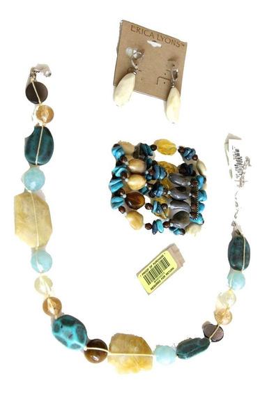 Collar Piedras Naturales Y Cordón Pulsera Aretes Erica Lyons