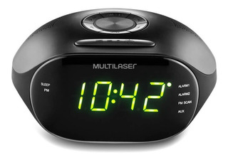 Rádio Relógio Digital Multilaser 5wrms Fm Bivolt Preto Sp202