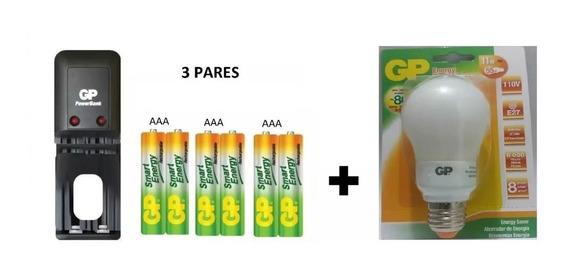 Batería Pilas Gp Recargables Aaa X3 Pares + Bombillo Ah