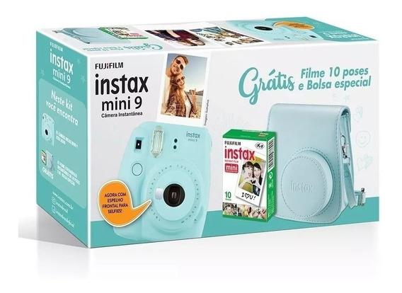 Kit Câmera Instax Mini 9 Azul Aqua + Bolsa + 10 Filmes