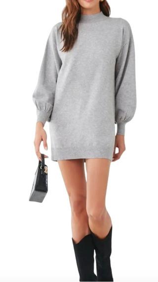 Forever 21 Vestido Sweater Corto Jersey Cuello Alto Talla M