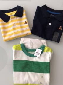Kit Camiseta Infantil Gap 6 A 12 Meses Menino Original 3 Un