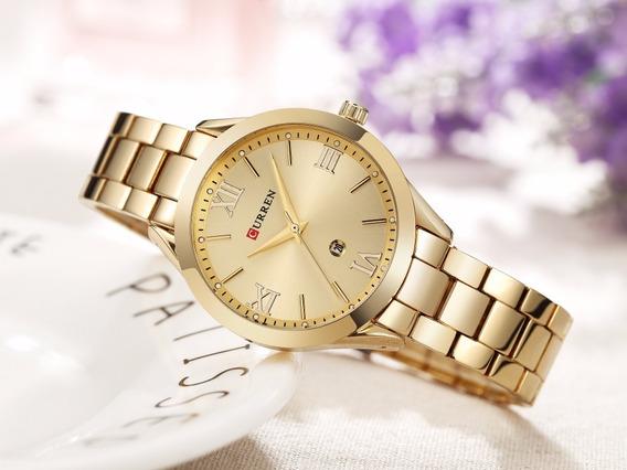 Relógio Pulso Feminino Dourado M. Curren Pulseira Metálica
