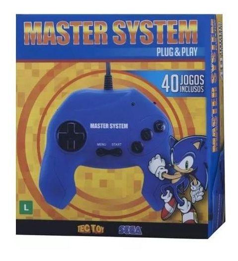 Master System Plug & Play - 40 Jogos Memória - Azul - Tectoy