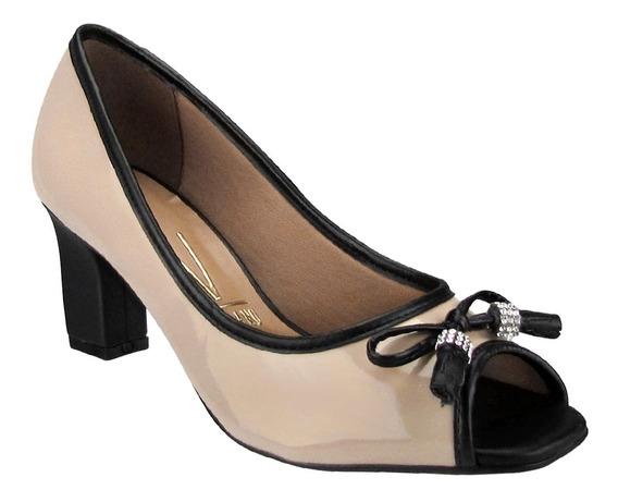 Sapato Feminino Vizzano 1818415 Peep Toe Bege Preto