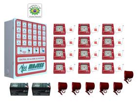 Kit Alarme De Incêndio 12 Acionadores 6 Sirenes E Baterias