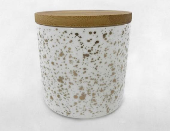 Tarro De Ceramica Con Tapa De Madera Grande