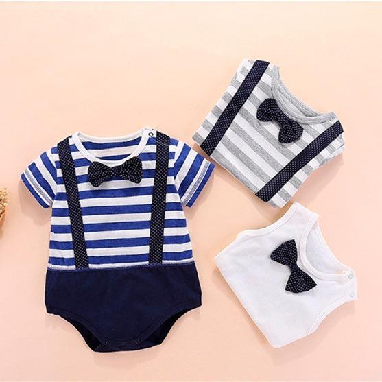 Mameluco De Moda Tirantes Para Bebe Niño