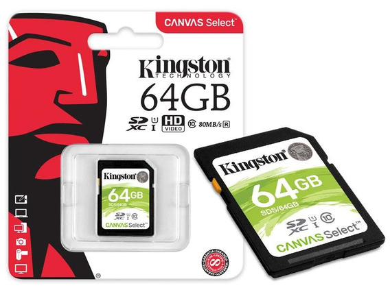 Cartao Memoria Kingston Sds/64gb Sdxc 64gb Canvas Select