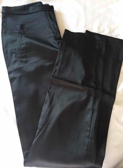 Pantalón Negro Raso Spandex Fiesta Mujer. Materia. Talle S.