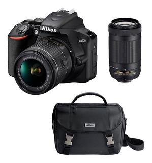 Cámara Nikon D3500 2 Lentes De 18-55mm Y 70-300mm + Maleta