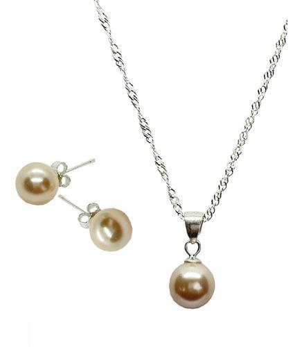 Conjunto Set Plata 925 Fabricado Con Perlas De Swarovksi®