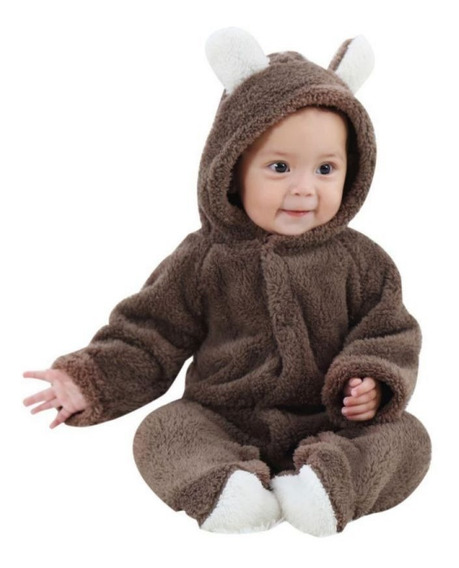Macacão Recém-nascido Roupinha Bebê Ursinho Marrom Macio