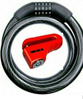 Candado D Disco Gde + Cable D Combinacion Uso Rudo 1m,mikels