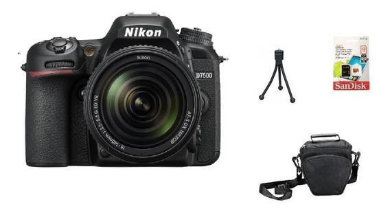 Nikon D7500 + 18-140mm 4k Wi-fi + 32gb + Bolsa + Tripé Sjuro