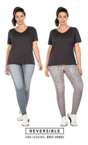 Calça Fusô Reversible Jeans Animal - Plus Size - Cinza - Liv