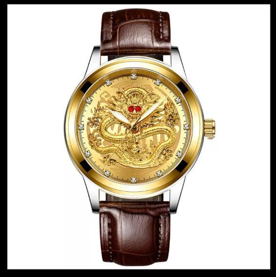 Relógio Masculino Dragão De Luxo Pulseira De Couro 2020