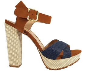 Sandália Feminina Jeans Numeração Especial Dom Amazona Cd35