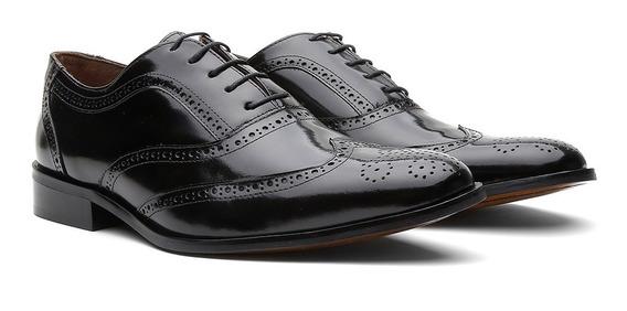 Sapato Masculino Oxford Couro Cromo Preto 404 - Frete Grátis