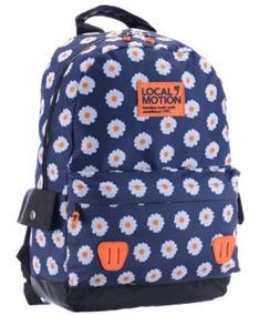 Mochila Costas Escolar Feminina Azul Floral Local Motion
