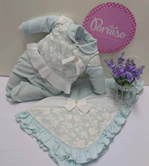 Saida Maternidade Paraiso Plush Bebê Menina Macacão Cod 8331