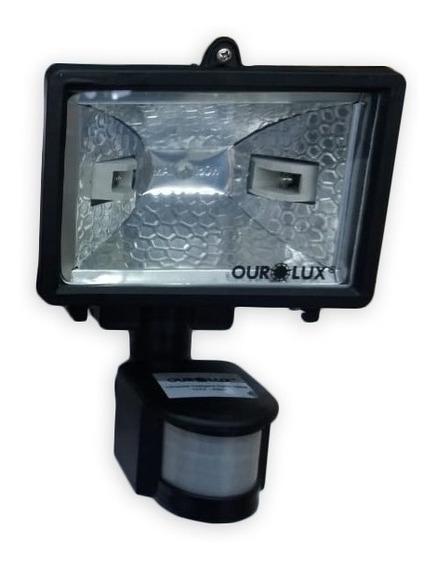 3 Refletor Preto Halogena Sensor 100w A 150w Com 6 Lâmpadas