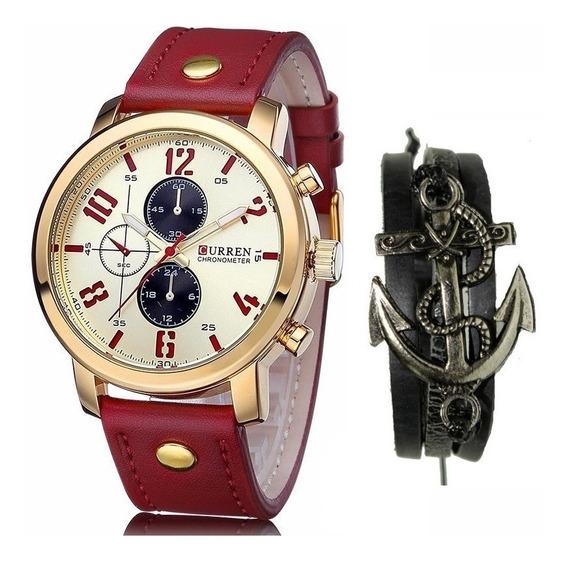 Relógio Masculino Original Curren Dourado + Pulseira Ancora