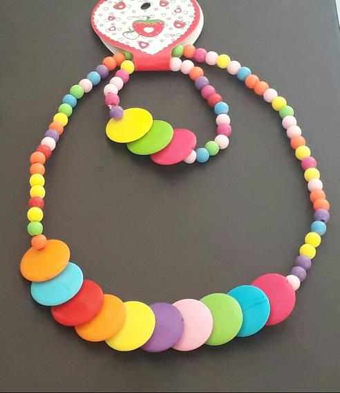 Conjunto Colar E Pulseira Infantil Super Coloridos