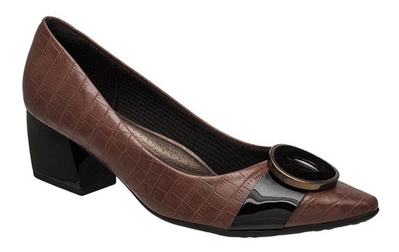 Sapato Scarpin Piccadilly 744036 Croco C/ Enfeite