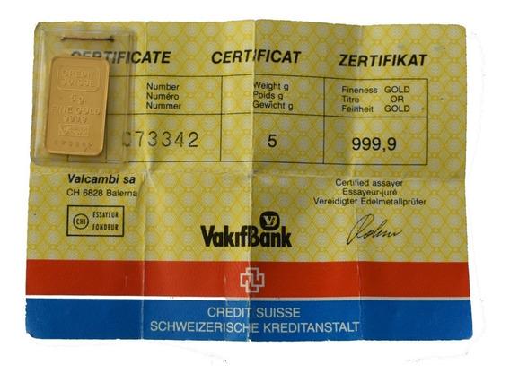 Lingote De Oro 5 Gr De 24 Kilates Suisse Credit 999.9