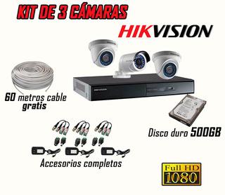 Kit De 3 Cámaras De Seguridad Full Hd Disco Duro 500 Gb