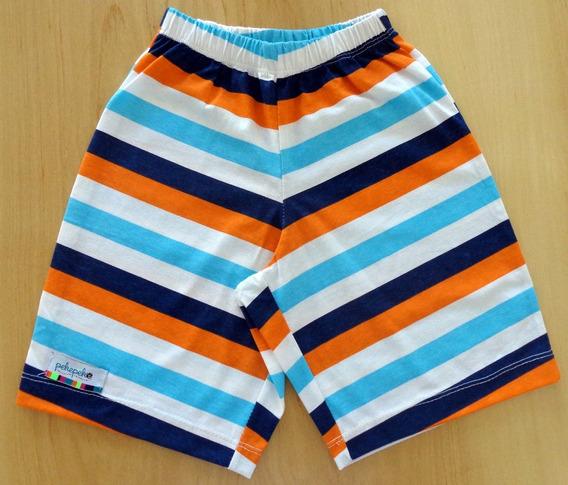 Short De Niño - Diseño Estampado - Rayado En Naranja