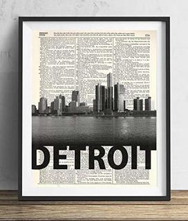 Detroit Skyline Con Nombre Audaz Diccionario Arte Impresion