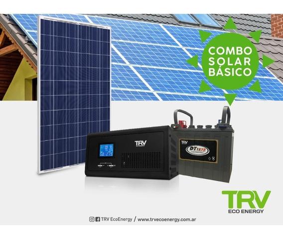 Kit Solar Basico: Panel + Inversor + Bat. (rendimiento 24 Hs