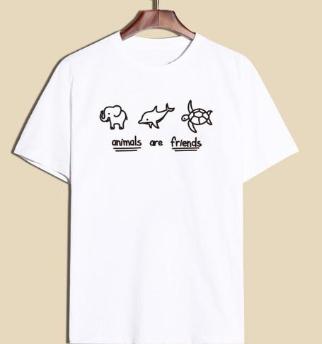 Camiseta Feminina Animais São Amigos Blusa Vegana Algodão