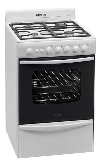 Cocina A Gas Longvie 13501bf 56cm Blanca Cajón Parrilla 6cts