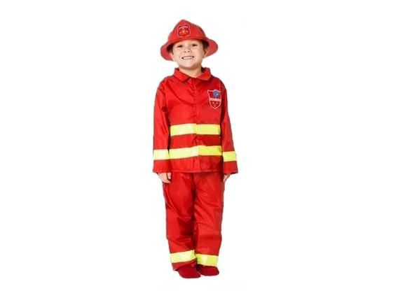 Disfraz Bombero Niño Incluye Sombrero Talle De 3 A 9 Años